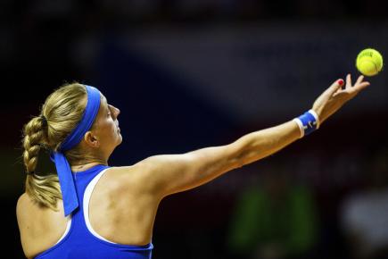 Petra Kvitová v zápase semifinále tenisového Fed Cupu proti Němce Julii Görgesové hraném 21. dubna 2018.