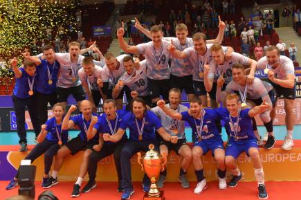 Evropská liga volejbalistů, finále: ČR - Estonsko, 14. června 2018 v Karlových Varech. Estonští hráči se radují z prvního místa.