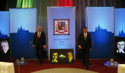 Presidential candidates Milos Zeman, left, and Jan Fischer, right, arrive at the studio for their Television debate in Prague, Czech Republic, Friday, Jan. 4, 2013. Czech Republic holds first round of the Presidential elections on Jan. 11-12 , 2013. (AP Photo/Petr David Josek)