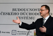 Premir Petr Neas vystoupil 21. kvtna v Praze na konferenci \&quot;Budoucnost eskho dchodovho systmu\&quot; v rmci kampan ke sputn druhho dchodovho pile.