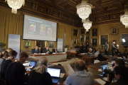Vyhlášení Nobelovy ceny za fyziku ve Stockholmu.