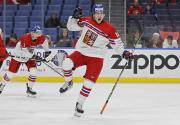 Český hokejista Filip Zadina se raduje ze své trefy do sítě Kanady v semifinále MS do 20 let v Buffalu.
