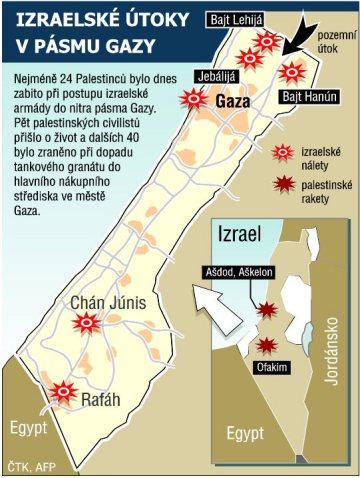 Izraelské útoky v pásmu Gazy.