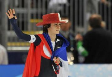 Zimní olympijské hry, rychlobruslení 5000 metrů, ženy, 24. února ve Vancouveru. Zlatá medailistka Martina Sáblíková v cíli. OLYCTK