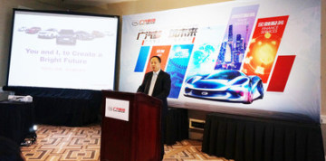 Yu Jun, ředitel GAC Motor, při náborové akci (PRNewsfoto/GAC Motor)