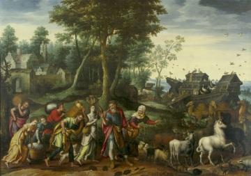 Mistr Marnotratného syna, Archa Noemova, olej, dřevo, 103 x 143 cm