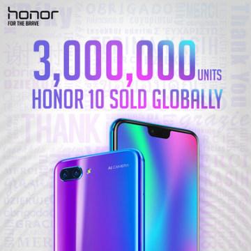 Honor 10 s AI 2.0 dosáhl prodeje 3 milionů kusů (PRNewsfoto/Honor)