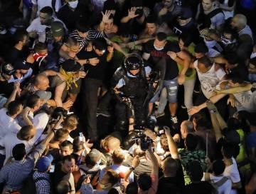 Protivládní demonstrace v rumunské metropoli Bukurešti.