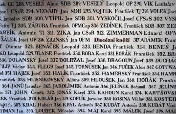 V želivském klášteře si 12. srpna 2018 lidé připomněli 464 kněží a řeholníků, kteří tam byli internováni v 50. letech minulého století. Na snímku je stěna se jmény v Želivi internovaných kněží a bratří.