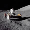 Na snímku NASA z 12. prosince 1972,  americký astronaut Eugene Cernan, velitel lodi Apollo 17, který vstoupil na povrch Měsíce.