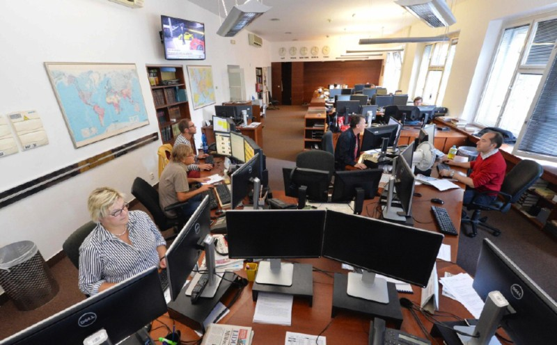 Redakční sál ČTK. Rok 2015