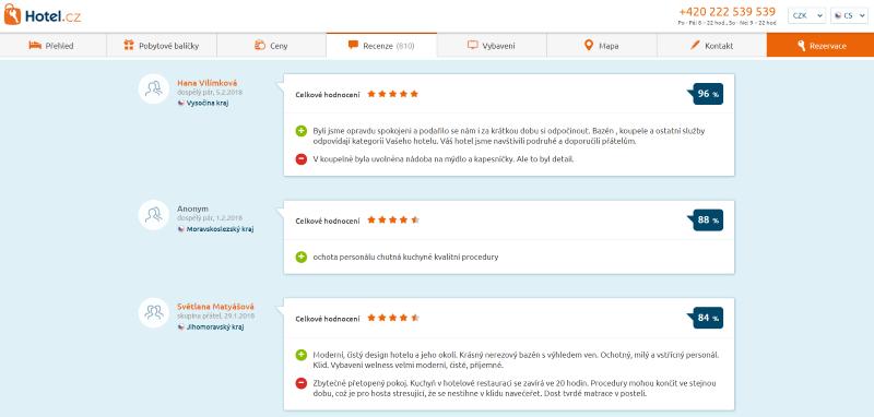Příklad recenzí hotelu Spa Resort Lednice z HOTEL.CZ.