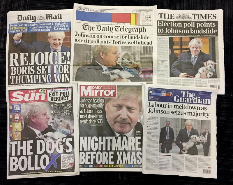 Britský tisk (na kombinovaném snímku) o parlamentních volbách.
