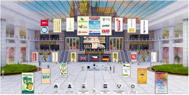 Vstupní hala kongresu – v online 3D prostředí.