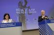 Místopředsedkyně Evropské komise Věra Jourová a eurokomisař Didier Reynders na tiskové konferenci v Bruselu ke zprávě EK o stavu právního státu v zemích EU, 30. září 2020.