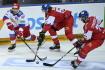 České hokejové hry, turnaj Euro Hockey Tour: ČR - Rusko, 15. května 2021 v Praze. Zleva Jegor Jakovlev z Ruska a Libor Šulák a Tomáš Zohorna z ČR.