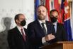Český ministr zahraničí Jakub Kulhánek vystoupil 20. července 2021 v Mělníku na tiskové konferenci po jednání ministrů zahraničí České republiky, Slovenska, Rakouska, Maďarska a Slovinska.