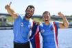 Letní olympijské hry Tokio 2020, 5. srpna 2021. Rychlostní kanoistika, K2, 1000 m muži - finále. Zleva Josef Dostál a Radek Šlouf z ČR se radují ze třetího místa.