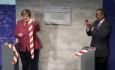 Německá kancléřka Angela Merkelová (vlevo) a šéf WHO Tedros Adhanom Ghebreyesus otevírají v Berlíně 1. září 2021 středisko včasného varování před pandemiemi.