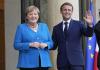 Francouzský prezident Emmanuel Macron (vpravo) vítá německou kancléřku Angelu Merkelovou 16. září 2021 v Paříži.