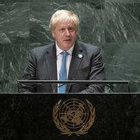 Britský premiér Boris Johnson na zasedání Valného shromáždění OSN v New Yorku 23. září 2021.