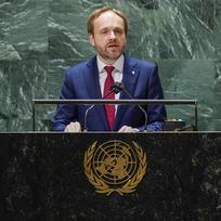 Český ministr zahraničí Jakub Kulhánek při projevu na 76. zasedání Valného shromáždění OSN.