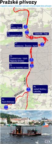 Pražské přívozy na Vltavě, ilustrační mapka oblasti.