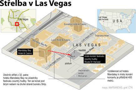 Střelba v Las Vegas, ilustrační mapka se základními údaji.
