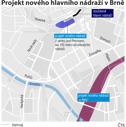 Projekt nového hlavního nádraží v Brně - ilustrační mapka.