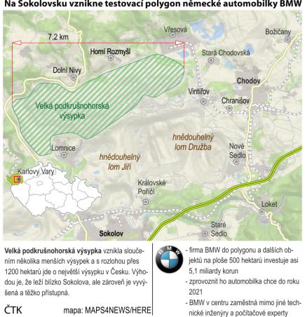 Na Sokolovsku vznikne testovací polygon německé automobilky BMW. Ilustrační mapka oblasti.