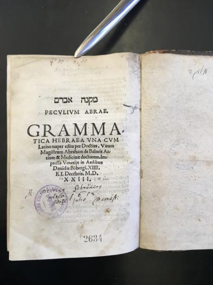 Do sbírek Židovského muzea v Praze se vrátí vzácná kniha ze 16. století. Svazek o hebrejské gramatice byl původně majetkem předválečné pražské židovské obce, v minulosti ale ze sbírek zmizel. Loni knihu do aukce nabídla americká aukční síň Kestenbaum, po upozornění Židovského muzea v Praze ji ale stáhla z nabídky a s dosavadním izraelským vlastníkem dojednala restituci tisku. Pohřešovanou knihu o hebrejské gramatice napsal italsko-židovský lékař Abraham ben Meir de Balmes. Svazek, v němž se pokusil o filozofický rozbor stavby hebrejského jazyka, je jedním z prvních děl, jež pojednává větnou skladbu jako samostatné gramatické odvětví. Knihu vydal v roce 1523 v hebrejštině a latině pod názvem Mikne Avram - Peculium Abrae známý benátský nakladatel Daniel Bomberg.