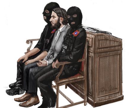 Salah Abdeslam (uprostřed) na kresbě ze soudní místnosti v justičním paláci v Bruselu.