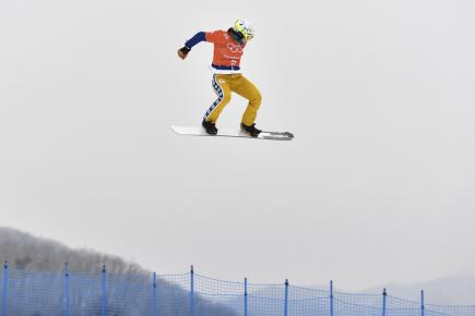 XXIII. zimní olympijské hry, snowboarding, snowboardcross, ženy, trénink, 14. února 2018 v Pchjongčchangu. Česká snowboardcrossařka Eva Samková při tréninku.