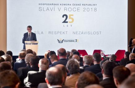 Premiér v demisi Andrej Babiš vystoupil 19. března 2018 v Praze na oslavách 25 let Hospodářské komory ČR.