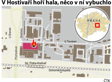 Požár haly v Hostivaři.  Ilustrační mapka oblasti s vyznačením místa požáru