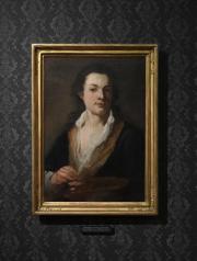 """Novináři si mohli 30. listopadu v Praze prohlédnout výstavu """"Norbert Grund (1717–1767). Půvab všedního dne"""", kterou pořádá Národní galerie v Praze při příležitosti 300. výročí narození a 250. výročí úmrtí umělce. Na snímku je jeho vlastní podobizna."""