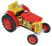 Tradiční výrobce plechových mechanických hraček Kovap. Na snímku je traktor.