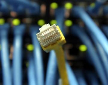 Internet - kabel - počítač - server - data - propojení. Ilustrační foto.