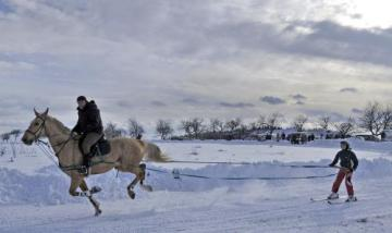 Vyznavači motoskijöringu a koňského skijöringu se 30. ledna sjeli do Bohuňova na Žďársku, kde na speciálně upravené trati mohli závodit rychlostí až 80 kilometrů v hodině taženi motocyklem nebo koněm.