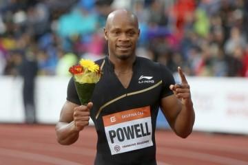 Atletický mítink IAAF World Challenge Zlatá tretra 26. května v Ostravě. Vítěz běhu na 100 metrů Asafa Powell z Jamajky.