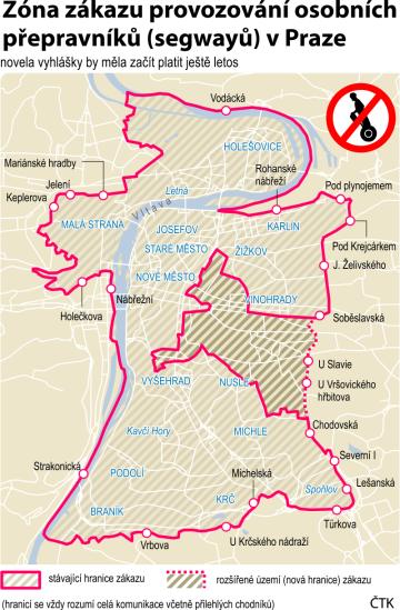 Grafické znázornění zóny zákazu segwayů v Praze.