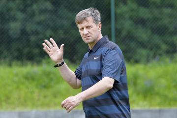 Fotbalisté 1. FK Příbram zahájili 18. června 2018 v Příbrami letní přípravu na novou sezonu. Na snímku je trenér Josef Csaplár.