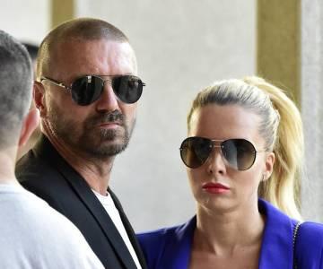 Bývalý fotbalista Tomáš Řepka a jeho partnerka Kateřina Kristelová na posledním rozloučení s dýdžejem Michalem Maudrem, který vystupoval pod přezdívkou DJ Loutka, 29. srpna 2018 v Praze.