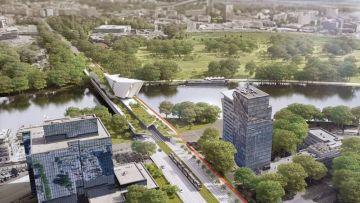Na místě pražského Libeňského mostu by podle lídra ANO Petra Stuchlíka mohl stát nový tzv. obytný most (na vizualizaci).