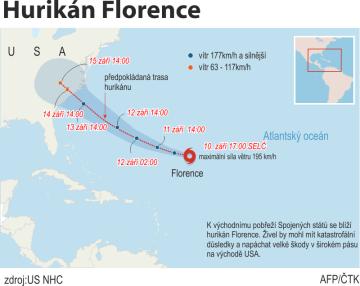 K východnímu pobřeží Spojených států se blíží hurikán Florence. Ilustrační mapka oblasti.