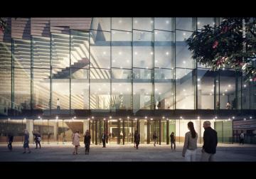 Mezinárodní projekční tým představil 14. září 2018 v Brně podobu nového brněnského koncertního sálu (na vizualizaci).