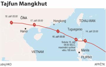 Tajfun Mangkhut zasáhl Filipíny a míří k Číně. Ilustrační mapka oblasti.