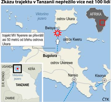 Potopení trajektu v Tanzanii - ilustrační mapka oblasti.