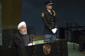 Íránský prezident Hasan Rúhání při svém projevu v OSN.