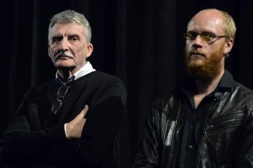 Herci zleva Martin Huba a Jan Budař 16. října 2018 v Praze na novinářské projekci filmu režiséra Jakuba Červenky Hovory s TGM.